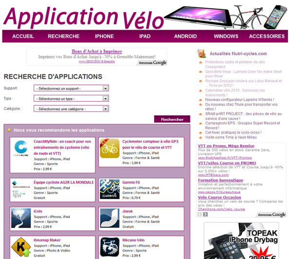 Application vélo
