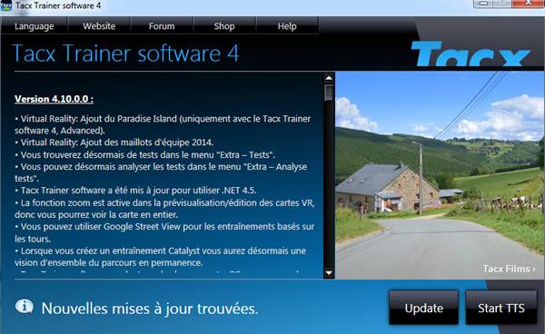Paramétrage home trainer TACX I-Genius
