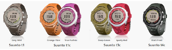 Suunto t1c True Fuchsia et Suunto t3c Sporty Red