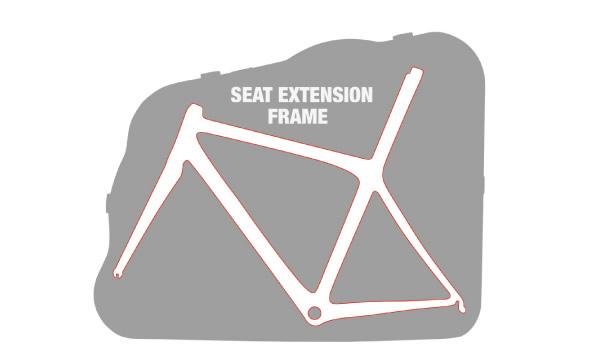 Mise en place du vélo avec tige de selle intégrée dans la valise