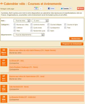 Calendrier vélo Nutri-cycles.com